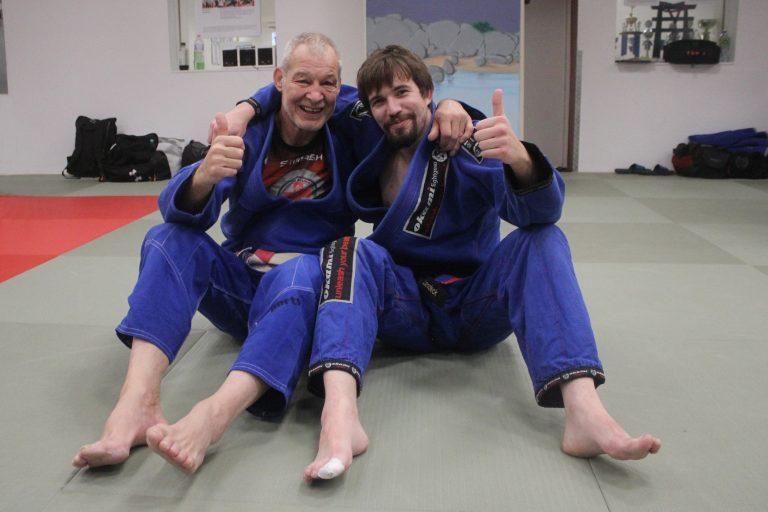 Ju-Jutsu Großmeister Achim Hanke und SVP-Trainingspartner Kay Landeck